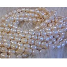 Fresh Water Pearls Rice Pearl White 8mm 10mm x 7mm P025 Wrinkle Pearls