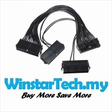 24Pin 24 Pin Triple 3 PSU ATX Power Supply Adapter Cable 18AWG Wire