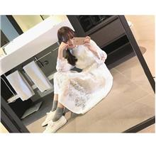 Pre order fresh and thin long-sleeved lace long skirt female dress