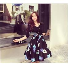 Pre order waist slim v-neck long-sleeved dress a word puff skirt