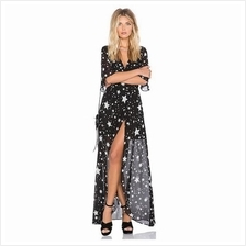 Star Print Chiffon Maxi Dress