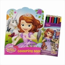 DISNEY SOFIA UNICORN COLORING BOOK WITH 12PCS LONG COLOR PENCIL