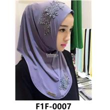 Woman Clothing Shirt Baju Perempuan Grey Blue (Flower)