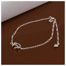 CHIC MOON SHAPE SOLID COLOR HOLLOW OUT ANKLET FOR WOMEN (WHITE)