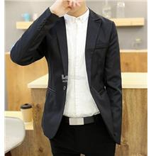 Men Coat- Korea Style casual Slim suit jacket- Black