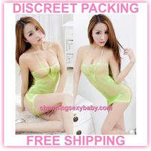 Sexy Fishnet Body Stocking Green Dress Hosiery Lingerie Sleepwear -