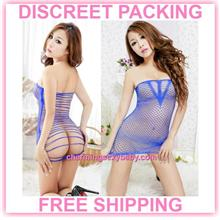 Sexy Fishnet Body Stocking Blue Dress Hosiery Lingerie Sleepwear -