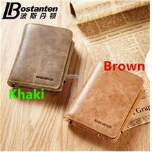 100% Cow Leather Bostanten Man's Short Wallet Card Slot Clips Bag