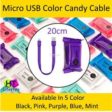 20cm Micro USB Charging & Data Sync Candy Short Color Cable