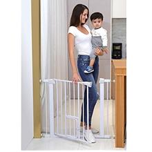 Cumbor Auto Close Safety Baby Gate, Easy Open Extra Tall Thru Gate with Pet Do