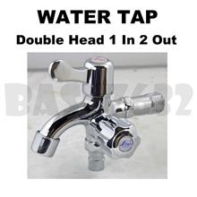 Double Head 1 In 2 Out Two Way Wall Water Tap Faucet Handle