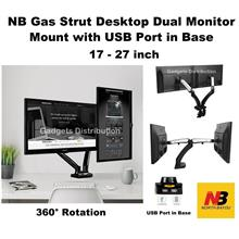 17 to 27 Inch NB F180 TV Gas Strut Dual Monitor Desktop Arm Desk Mount