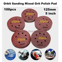 100pcs  5 inch 125mm 8holes Orbit Sanding Disc Paper 60-240 Grit