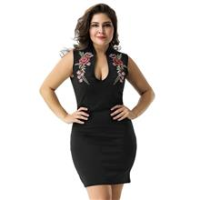 CELLY Plus Size Rose Embroidery Black Mini Dress (CSOH R80483P)