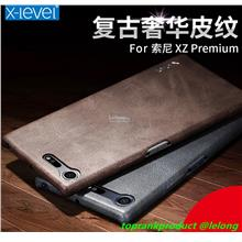 X-Level Sony Xperia XZ Premium Vintage PU Leather Case Cover Casing