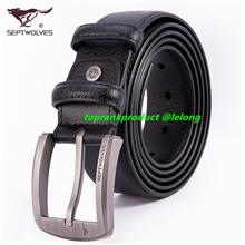 100% Septwolves Longer Business Leisure Cow Leather Belt @ Plus Size