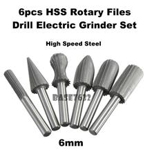 "6pcs 1/4"" 6mm HSS Rotary Files Burr Drill Electric Grinder Cutter Tool"