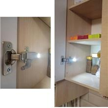 LED Cabinet Hinge Light Induction Cupboard Closet Wardrobe Night Lamp 1PC (WHI