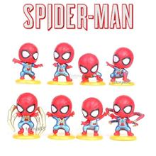 MINI SPIDERMAN FIGURE TOY CUTE SPIDEY AVENGERS / CAKE TOPPER 8 PCS SET