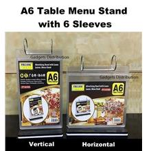 A6 Paper  Table Menu Stand with 6 Sleeves Horizontal Vertical Type
