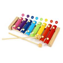 KID WOODEN 8 NOTES MUSICAL TOYS HAND KNOCK XYLOPHONE EDUCATIONAL TOYS (COLORFU