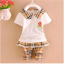00399 Baby Girl Plaid Collar Blouse Set