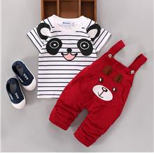 00422 Baby Kids Short Sleeves Cute Bear Bib Pants Set