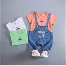 00427 Baby Kids Short Sleeves Bib Pants Set