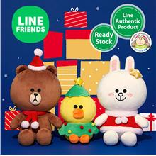 Line Friends Brown Cony Sally Christmas Soft Plush Toy Doll Set (25cm)