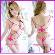 Fishnet Body Stocking Rose-Red Teddies Open Breast Sexy Lingerie -