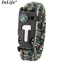 INLIFE MULTIFUCTIONAL SURVIVAL PARACORD BRACELET WITH SCRAPER WHISTLE COMPASS