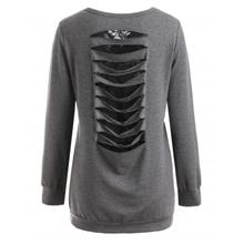 Lace Insert Shredding Sweatshirt (DARK GRAY)