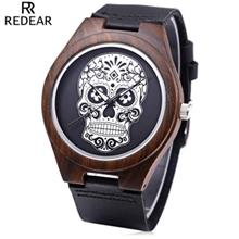 REDEAR MALE QUARTZ WATCH IMPORTED MOVT SKULL PATTERN DIAL WOODEN CASE WRISTWAT
