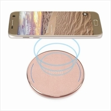 UNIVERSAL PORTABLE QI WIRELESS CHARGER PC FROSTED PANEL ROUND SHAPE (PINK CHAM