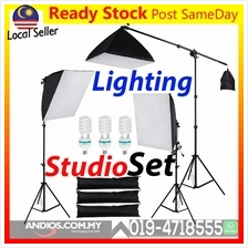 3pc Softbox Light Photo Studio Photography Camera Video Stand Boom Arm