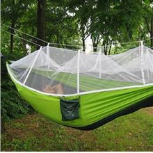 SINGLE PERSON PORTABLE PARACHUTE FABRIC MOSQUITO NET HAMMOCK FOR INDOOR OUTDOO