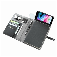 A5 Notebook Padfolio with Built In 5000 mAh Power Bank Qi Wireless