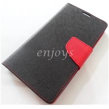 MERCURY Fancy Diary Book Case Cover Lenovo A850+ /A850 Plus ~BLACK/RED