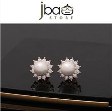 Exquisite Luxury Rhinestone Pearl Sunflower Stud Earring / Earrings