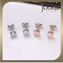 Round Earring 18K Rose Gold Plated Titanium Steel Stud Earrings