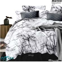 Essina Selena Marble Microfiber Plush Fitted Bedsheet Set