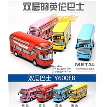 M6008B City Luxury Bus double bus with LED light & Sound Alloy Diecast