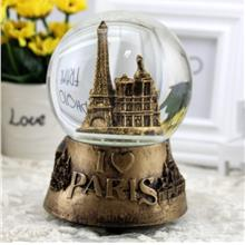Paris Eiffel Tower Spinning Crystal Ball Music Box