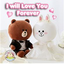 Korea Line Brown Cony Wedding Car Decoration Lover Couple Toy