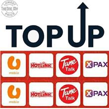 TOP UP E- Reload For Umobile / Hotlink / TuneTalk / Xpax