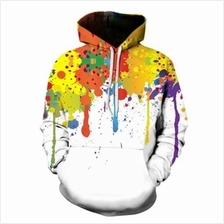 HOODED COLORFUL SPLATTER PAINT PRINT HOODIE (COLORMIX)