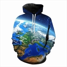 3D EARTH GALAXY PRINT PULLOVER HOODIE (COLORMIX)