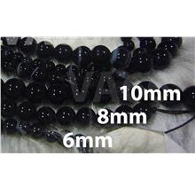 DIY Black Agate Stripes 6mm 8mm 10mm Line Gemstone Smooth Round