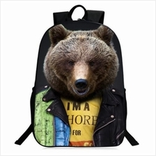 3D ANIMAL PATTERN POLYESTER BACKPACK (YELLOW)