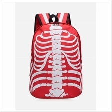 NOCTILUCENCE SKULL STRIPED BACKPACK (RED)
